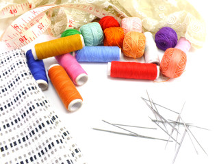 sewing kit background with color threads meter and scissors