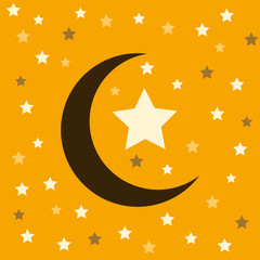 Vector illustration with the moon and stars on a yellow backgrou