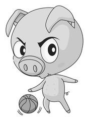 Pig and basketball