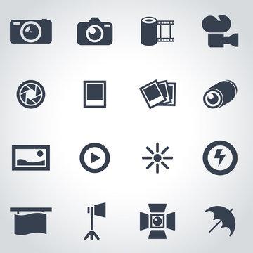 Vector black photo icon set