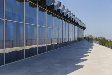 glass showcase in a modern building