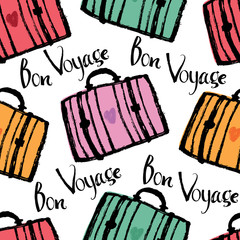 Bon Voyage Background with colorful suitcases