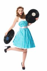 Pinup Girl mit Schallplatten