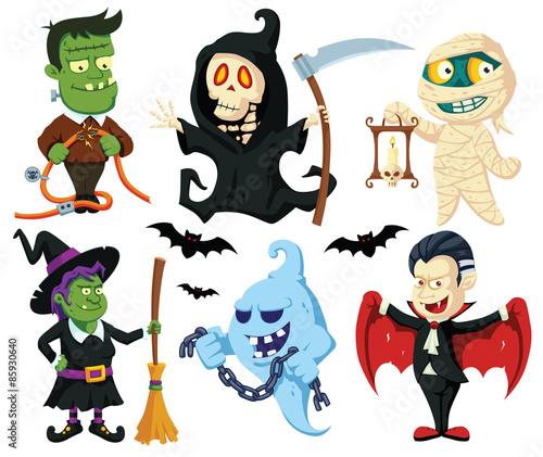 Halloween flat cartoon characters setfotolia halloween flat cartoon characters set voltagebd Gallery