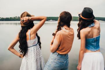 three beautiful girls on the beach