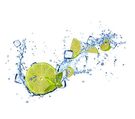 Limes slices in water splashes on white background