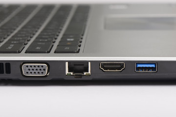 USB 3.0, LAN and graphic ports of laptop computer