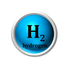 illustration of hydrogen molecule on isolated white background