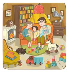 Семья: мама, папа, сын и дочка сидят в уютной комнате на диване и читают книгу. Горит огонь в камине, стоит книжный шкаф, повсюду лежат игрушки.