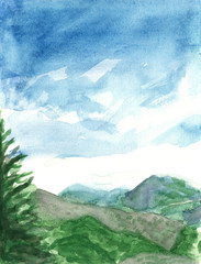 Watercolour landscape with blue sky and green grassy mountains