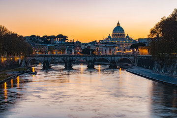 Twilight view of Rome at St. Peters cathedral in Italy
