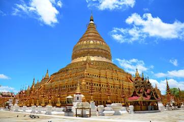 The golden Shwezigon Pagoda or Shwezigon Paya in Bagan, Myanmar.