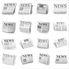 Newspaper icon set. Vector