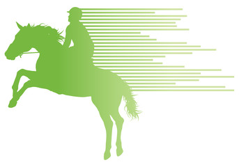 Horse riding equestrian sport with horse and rider vector backgr