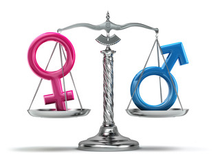 Gender equality concept. Male and female signs on the scales iso