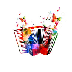 Colorful accordion. Music instrument background with butterflies