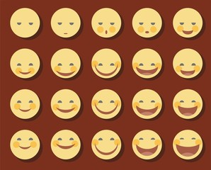 Smiley, funny, smile, laugh, laughing, sad, color, flat.