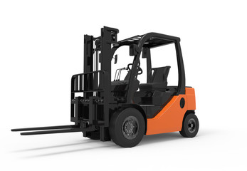 Forklift truck on a white background