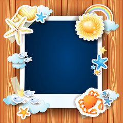 Summer background with photo frame and shells