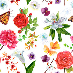 Seamless background pattern with roses, other flowers and butterflies