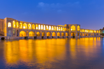 The ancient Khaju Bridge, (Pol-e Khaju), in Isfahan, Iran