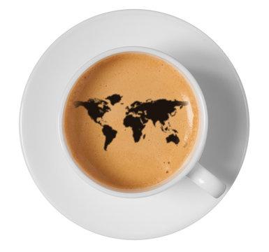 world map drawing art on coffee foam in cup