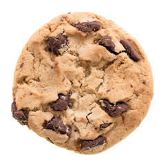 Poster Koekjes Chocolate chip cookie isolated on white background.