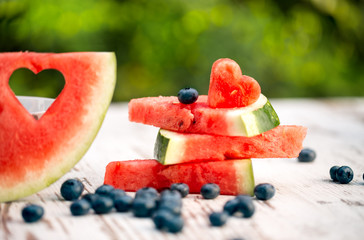 watermelon slices with love decorate