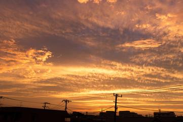 東京の夕暮れ時の空