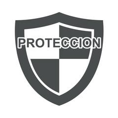 Icono texto PROTECCION en escudo gris