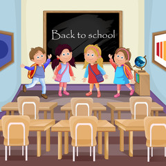 Illustration of kids in classroom in the school