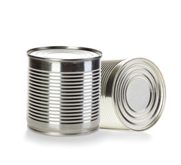 Cans isolated on white background
