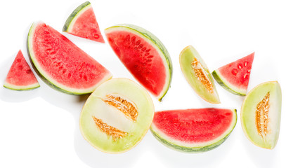 Watermelon and melon, top view