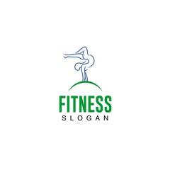 Fitness lady gymnastic logo template