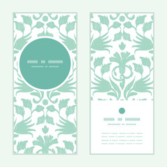 Vector abstract green ikat vertical round frame pattern