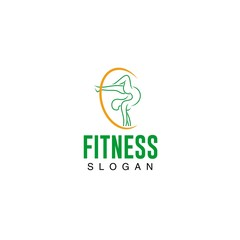 Fitness lady gymnastic logo template