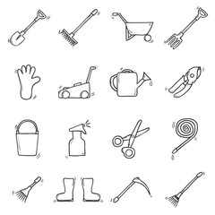 Set of cute hand drawn outline icons on garden theme. Outdoor