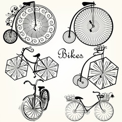 Collection of vector hand drawn bicycles for design