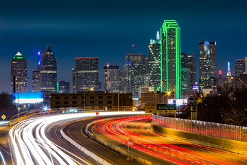 Wall Mural - Dallas skyline by night