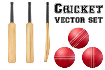 Traditional wood cricket bats and balls.