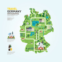 Infographic travel and landmark germany map shape template desig