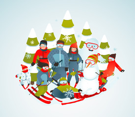 Cheerful Sporty Group of Skiers Snowboarders and Winter Trees