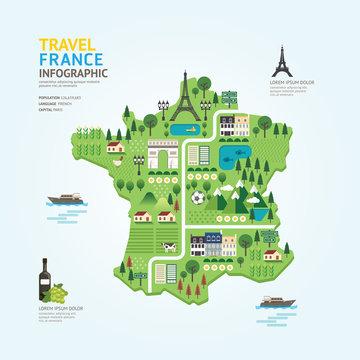 Infographic travel and landmark france map shape template design