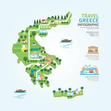Infographic travel and landmark greece map shape template design