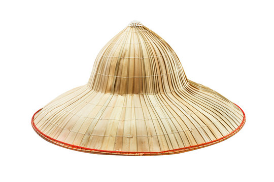 The bamboo hat on white isolate background.