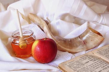 rosh hashanah (jewesh holiday) concept - shofar, torah book
