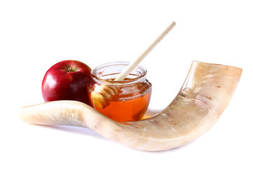 shofar isolated on white. rosh hashanah jewish holiday