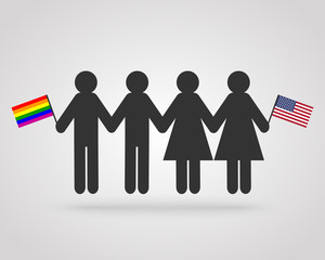 Gay and lesbian marriage concept with pictogram figures holding rainbow flag and American - USA flag
