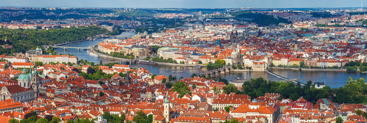 General view of Prague's historic center and the river Vltava