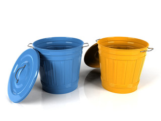 3d blue and yellow plastic bucket isolated on white background